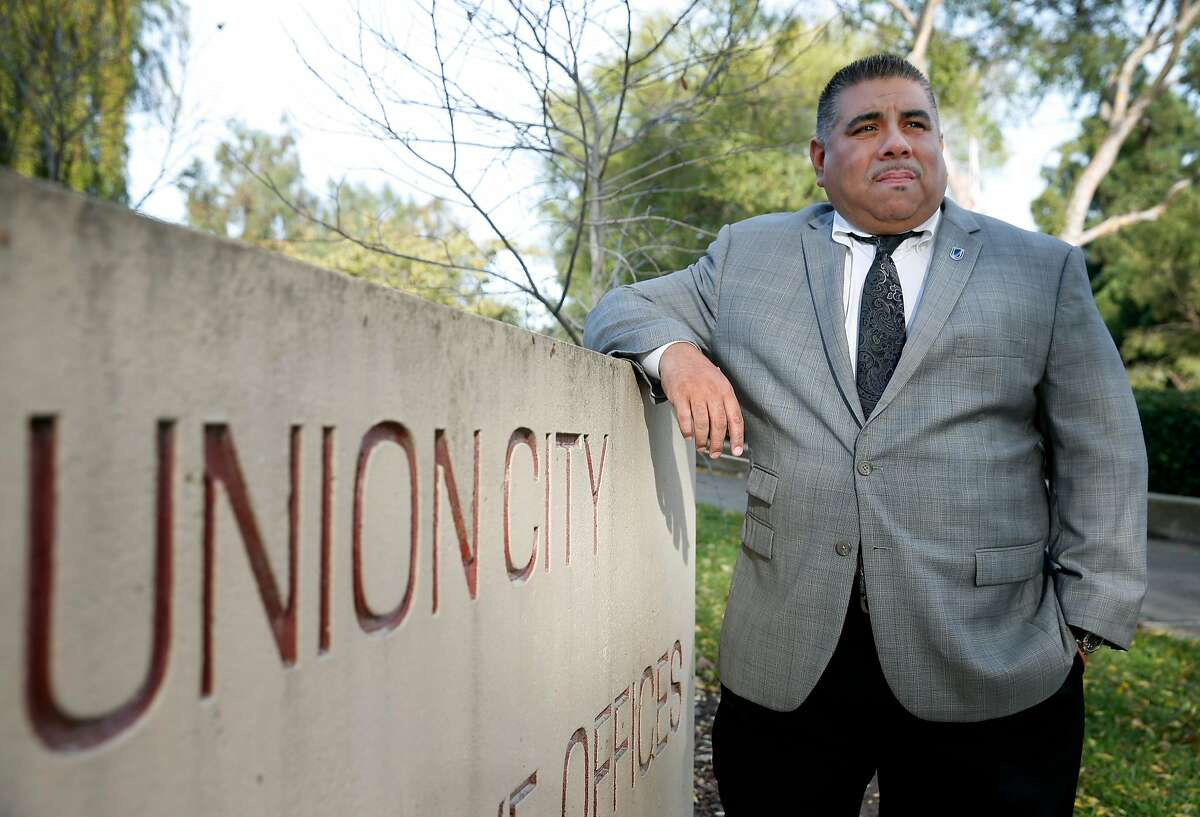 Newly elected Union City city councilmember Jaime Pati�o is seen outside of City Hall at William M.Cann Memorial Civic Center park in Union City, Calif. on Friday, Nov. 30, 2018.