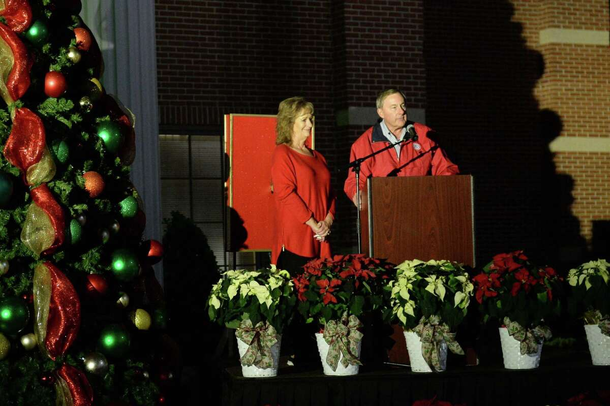 Mayor Chuck Brawner and his wife Marcy prepare for the arrival of Santa Claus during the Holiday Tree Lighting Ceremony at Katy City Hall, Thursday, November 29, 2018.