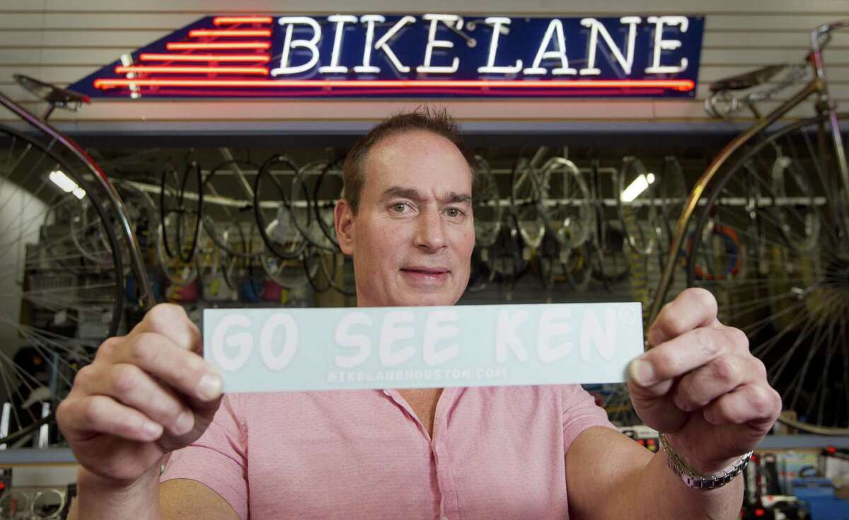 Ken Thurlow, manager of Bike Lane, poses for a portrait, Tuesday, Nov. 27, 2018, in Shenandoah. Thurlow is the man behind the