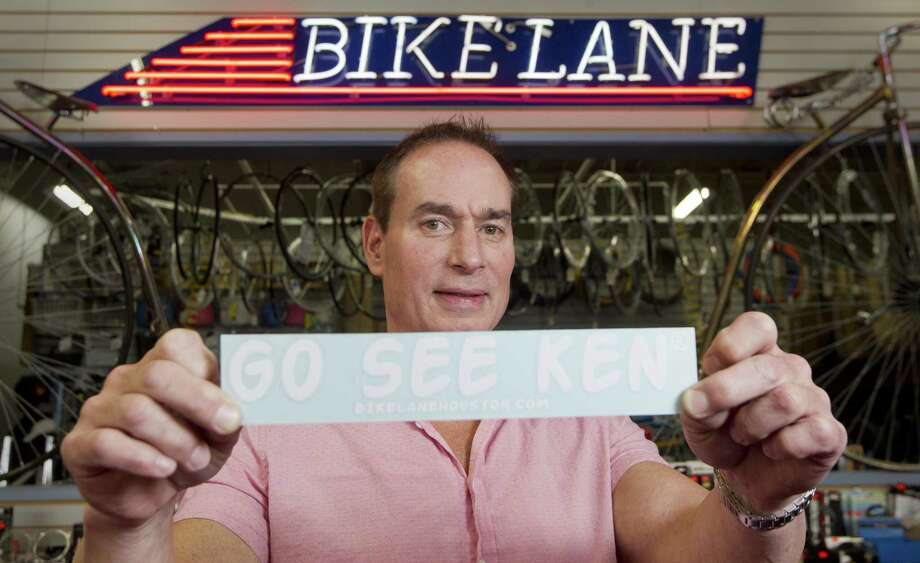 "Ken Thurlow, manager of Bike Lane, poses for a portrait, Tuesday, Nov. 27, 2018, in Shenandoah. Thurlow is the man behind the ""Go See Ken"" bumper stickers residents have see around the area since 2015, which started when customers to the shop mentioned they were directed by other cyclist to see Thurlow for help with their equipment. Photo: Jason Fochtman, Houston Chronicle / Staff Photographer / © 2018 Houston Chronicle"