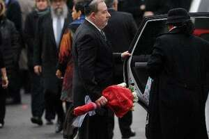 Lenny Pozner leaves the funeral service for his six year-old Noah Pozner, killed in the mass shooting at Sandy Hook School in 2012.