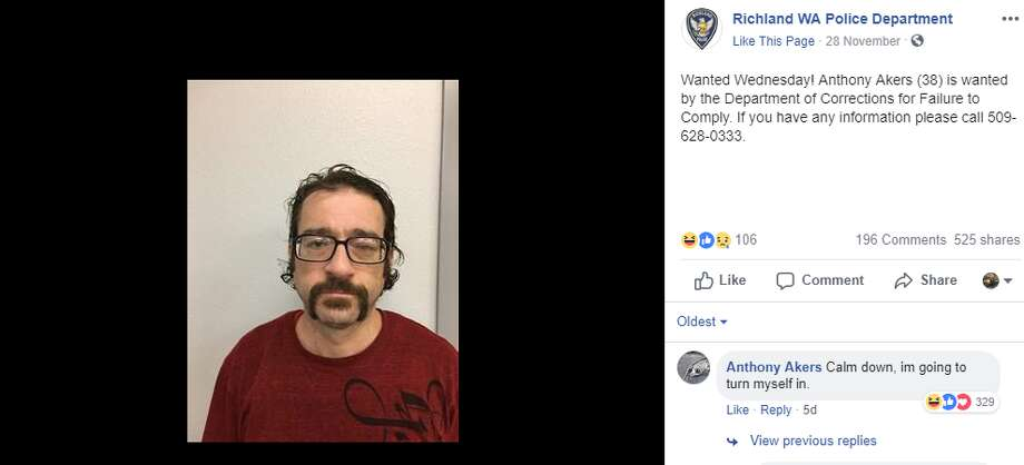 "Andrew Akers was the ""wanted Wednesday"" for Richland PD last week. Nearly a week later, he still hasn't been caught -- but he's been following their post. Photo: Facebook Screenshot"