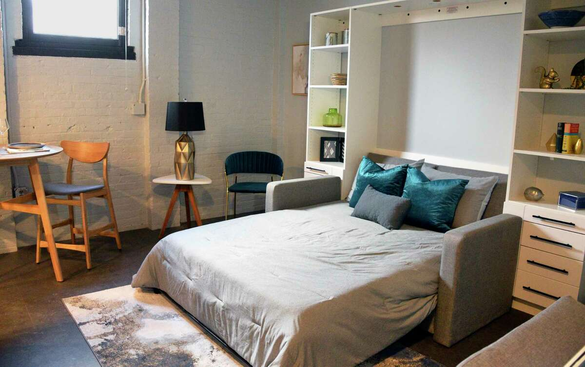 A Murphy bed in a model studio apartment at the @HudsonPark apartment complex under construction Tuesday Dec. 4, 2018 in Albany, NY. Formerly the site of Long Energy and originally the Hinckel brewery, the three building complex is being converted into 75 new luxury apartments. (John Carl D'Annibale/Times Union)