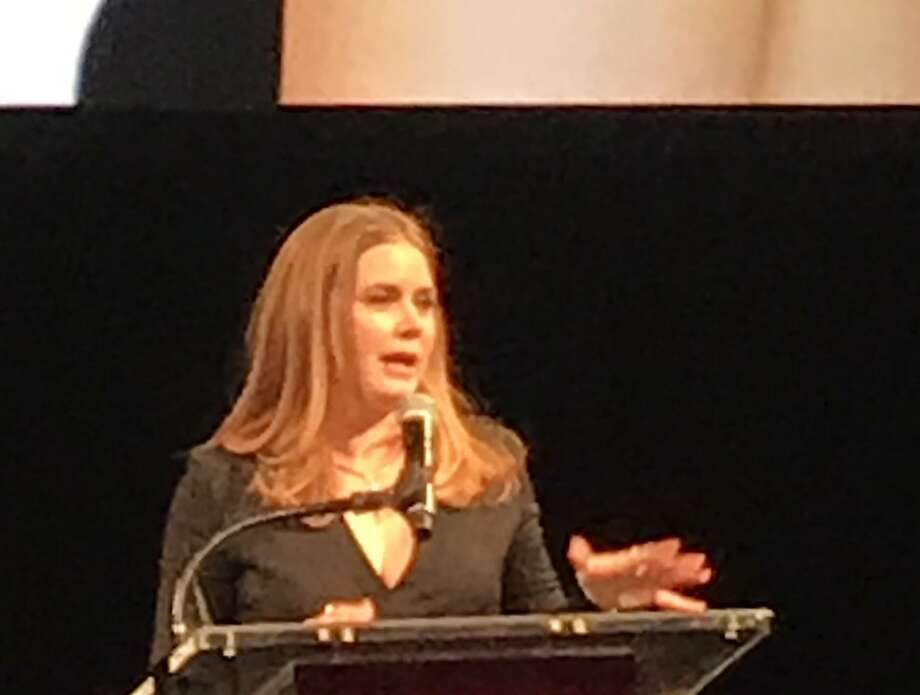 Amy Adams accepts the Peter J. Owens Award for acting at the SFFilm gala. Photo: Leah Garchik / The Chronicle