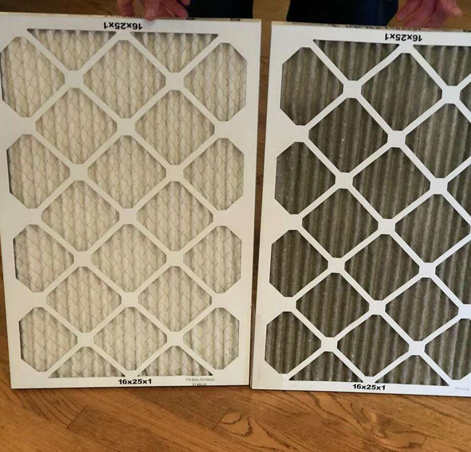 "Sarah Jones Clark of Sacramento changed the filter in her house after five days of use during the Camp Fire posted an image of the old and new one on Facebook. The new one is on the left, and the old one (that we had just put in about 3 weeks ago) is on the right. YUCK!"" she wrote. Photo: Sarah Jones Clark"