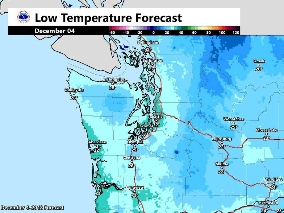 The low temperature forecast as seen on a map Tuesday morning. Photo: Courtesy NWS