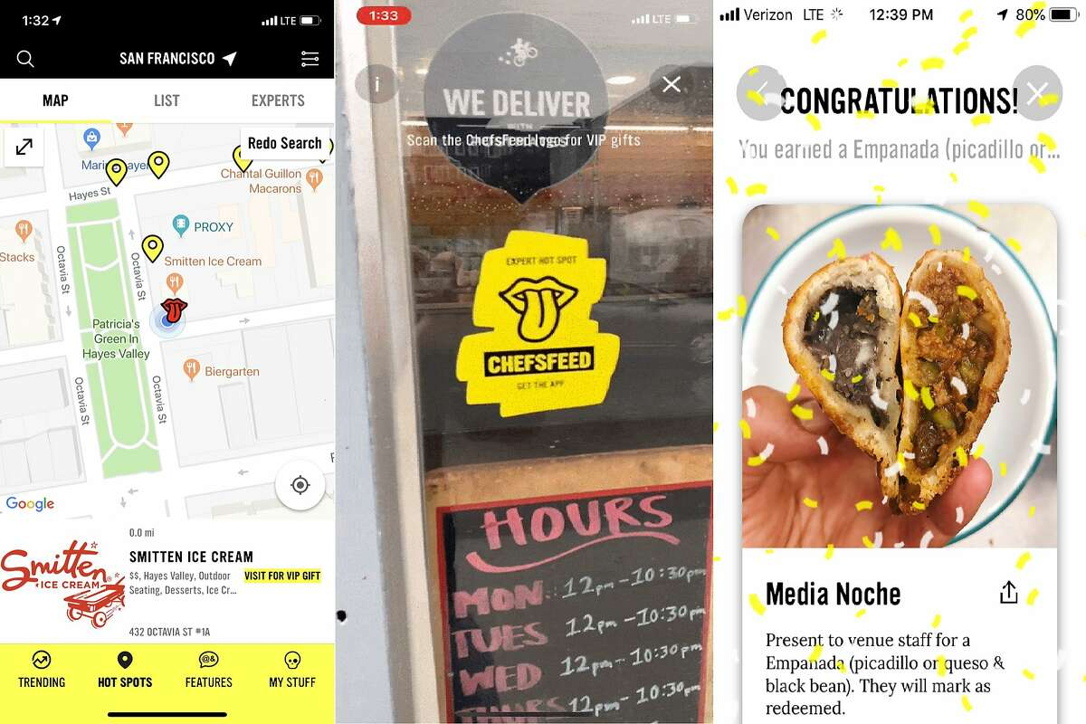 Screenshots from the ChefsFeed augmented reality scavenger hunt, which allows users to photograph door stickers and claim free food at local restaurants