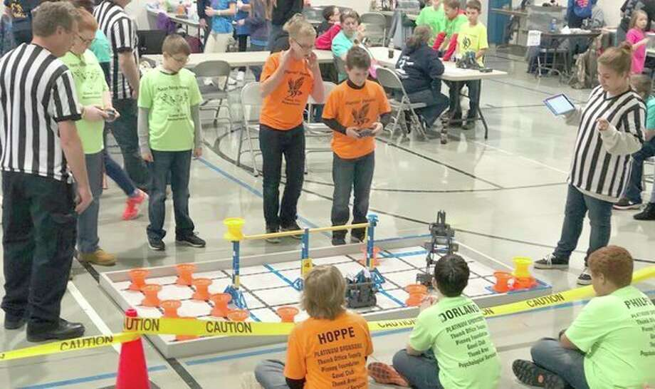 Students from all over the Upper Thumb competed in a VEX Robotics tournament Friday at Cross Lutheran Church. (Kate Hessling/Huron Daily Tribune)