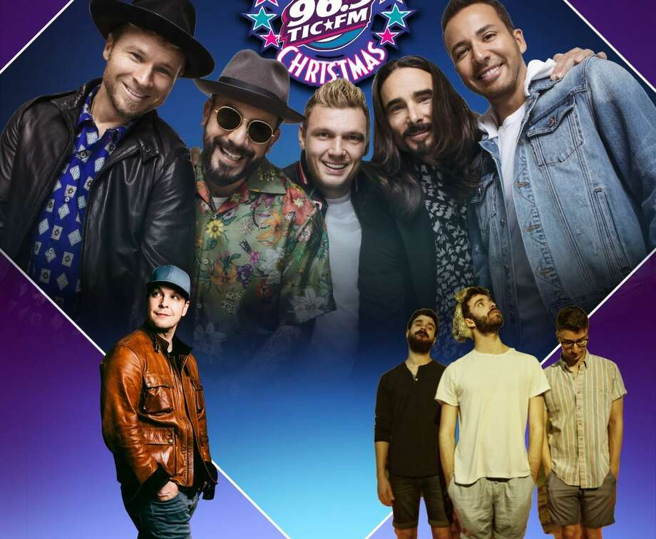 The Backstreet Boys, top, with Gavin DeGraw, bottom left, and AJR. Photo: Mohegan Sun / Contributed Photo