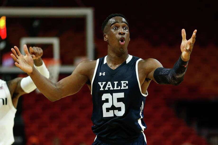 Yale's Miye Oni reacts against Miami during the HoopHall Miami Invitational at American Airlines Arena on Saturday. Photo: Michael Reaves / Getty Images / 2018 Getty Images