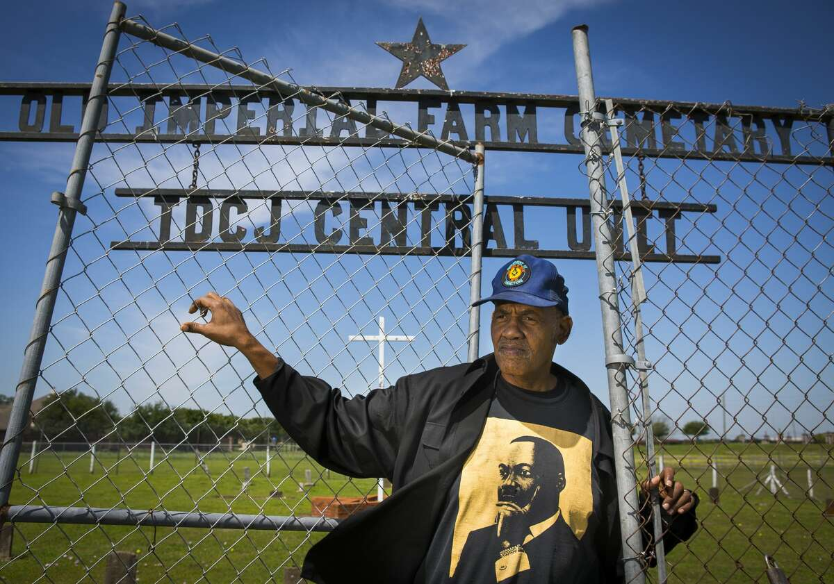 Reginald Moore, who has been striving for years to get recognition for the Old Imperial Farm cemetery that houses bodies believed to be a part of the convict leasing system in Sugar Land, stands inside the cemetery where he serves as the steward, Tuesday, April 10, 2018, in Sugar Land. Fort Bend ISD and the Texas Historical Commission have identified a historic cemetery on the site of a new technical center under construction near the area where Moore has been focused for years, according to a news release issued Friday by the school district.