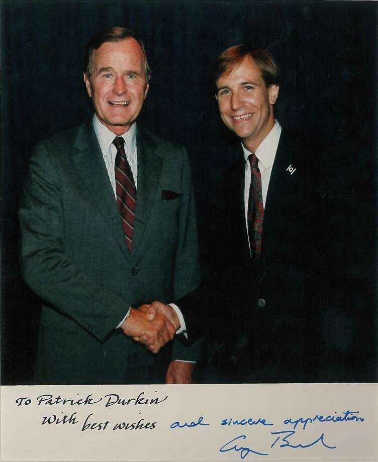 George H.W. Bush with Patrick Durkin after Durkin brought Bush back to Greenwich for his first formal visit as vice president. Bush addressed the student body at Greenwich High School in September of 1986 at Unity Day. Durkin, a lifelong Greenwich resident, is attending services for Bush, who died last week at age 94. Photo: Contributed Photo / Greenwich Time Contributed