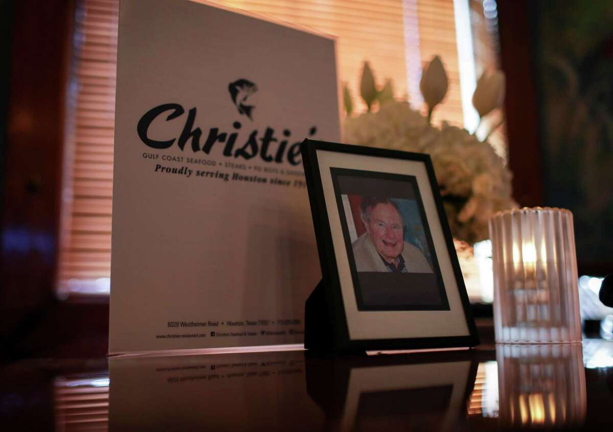 The favorite table of former President George H. W. Bush at Christie's, Monday, Dec. 3, 2018, in Houston.