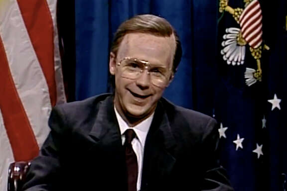 "Dana Carvey portraying George H.W. Bush on ""Saturday Night Live."""