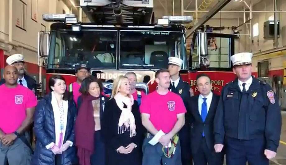 A screenshot of a video shared by Bridgeport, Conn., Fire Department on Dec. 4, 2018. The firefighters raised $3,600 during Breast Cancer Awareness Month. Photo: Contributed Photo / Bridgeport Fire Department / Contributed Photo / Connecticut Post Contributed
