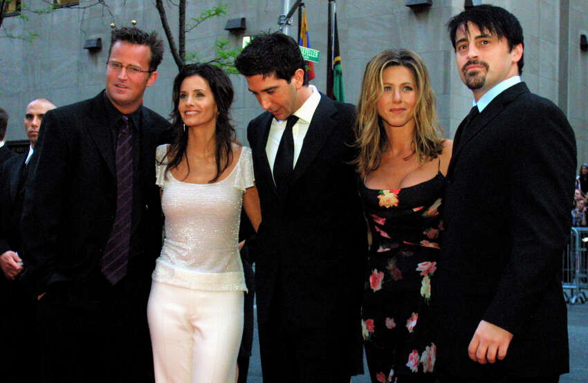 FILE - In this May 5, 2002 file photo, the cast members, Matthew Perry, from left, Courteney Cox Arquettte, David Schwimmer, Jennifer Aniston and Matt LeBlanc of the television show