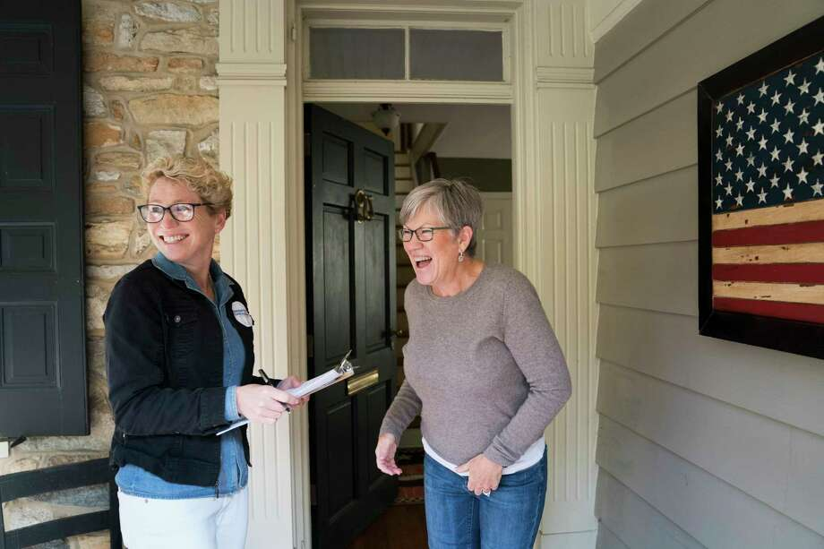 FILE-- Lynn Majarian, right, talks with Chrissy Houlahan, a Democrat running for Congress who was out canvassing in Kennett Square, Pa., Nov. 3, 2018. Gun control was an issue for Houlahan. Two groups that are focused on gun control, Giffords and Everytown for Gun Safety, spent at least $37 million at the state and federal level in the midterm elections, compared with at least $20 million by the National Rifle Association. (Erin Schaff/The New York Times) Photo: ERIN SCHAFF / NYTNS