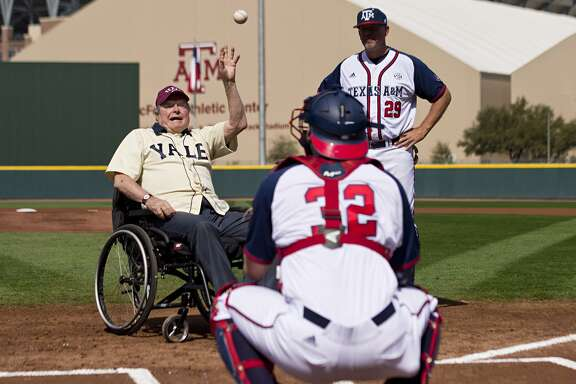 Former President George H. W. Bush throws out an opening pitch when Yale played at Texas A&M two years ago.
