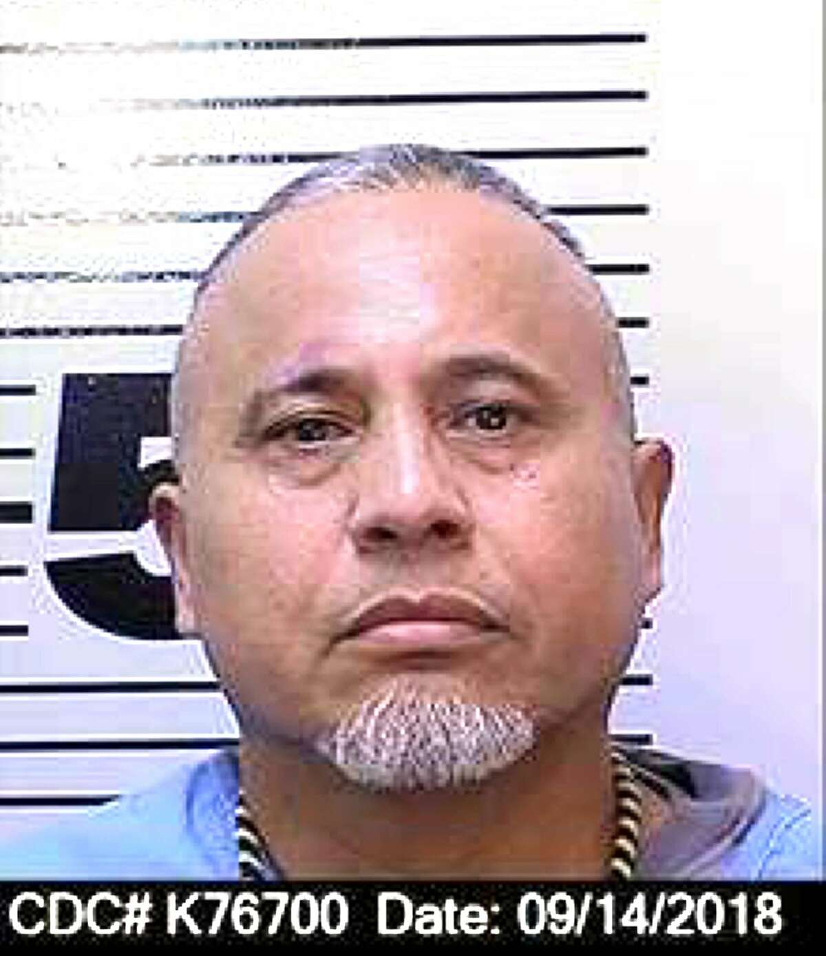 This Sept, 14, 2018 photo released by the California Department of Corrections and Rehabilitation shows inmate Herminio Serna. The CDCR says that Serna, 53, died late Monday, Dec. 3, 2018, at San Quentin State Prison and that the death is not being investigated as a homicide or suicide but that it will take an autopsy to determine how he died. He is one of three men sentenced to death for slayings during the Nuestra Familia gang's alleged efforts to take over the drug trade in San Jose. (California Department of Corrections and Rehabilitation via AP)