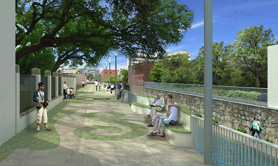 Calder Alley, street level, looking downstream. A rendering of the proposed design for the San Pedro Creek Culture Park phase one, segment two. Photo: Courtesy Of The San Antonio River Authority