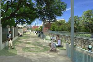 Calder Alley, street level, looking downstream. A rendering of the proposed design for the San Pedro Creek Culture Park phase one, segment two.