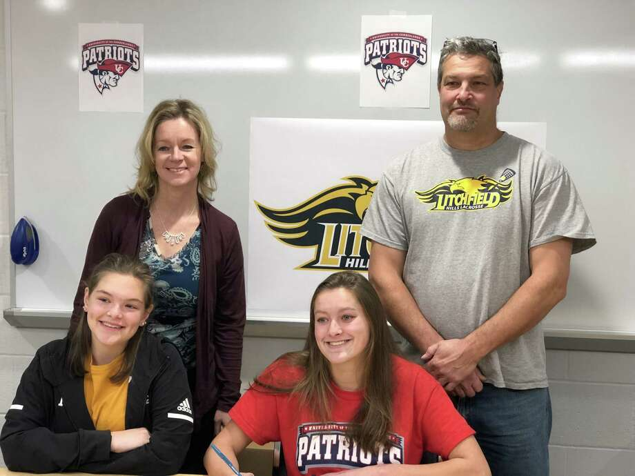 Litchfield High School senior Rachel Leigh signed a National Letter of intent to play NAIA Div 1 lacrosse for the University of the Cumberlands in Kentucky next season. Leigh is pictured with her sister, Savannah, mother, Laura and father Bob. Leigh has played for Litchfield Hills Youth Lacrosse (LHYL) since 2nd grade. Litchfield High School does not offer girls lacrosse. She is the first female to be recruited to play at this level from the LHYL club. Cumberlands won the Mid-South Conference title last season. Photo: Submitted /