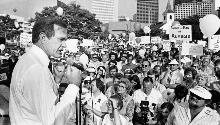 George H.W. Bush, candidate for the Republican nomination for president, addresses supporters at a 1979 rally in Sam Houston Park  at the start of his Texas campaign tour.