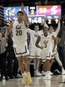 California guard Matt Bradley (20) celebrates after scoring against Santa Clara during the second half of an NCAA college basketball game in Berkeley, Calif., Monday, Nov. 26, 2018. (AP Photo/Jeff Chiu)