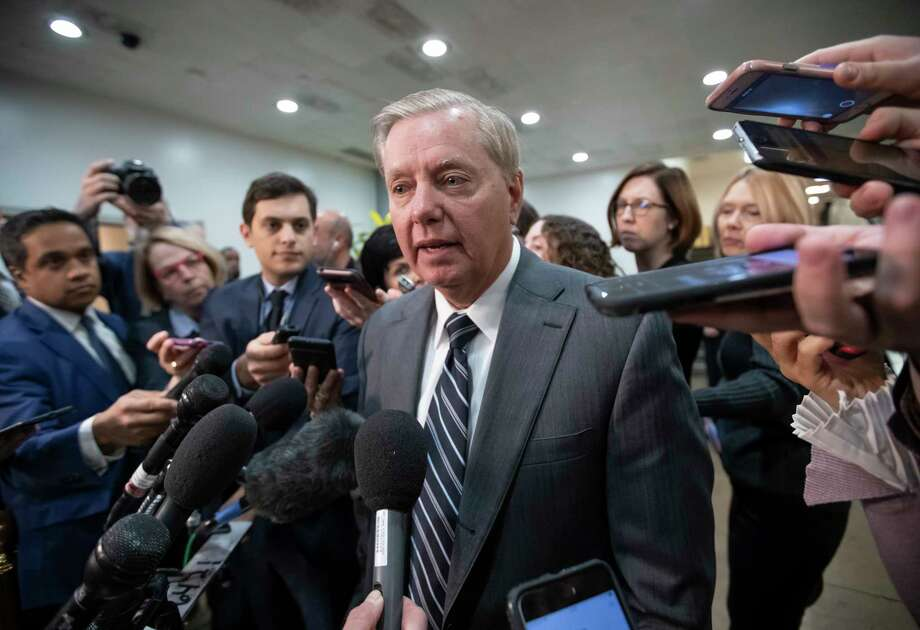 """Sen. Lindsey Graham, R-S.C., chairman of the Subcommittee on Crime and Terrorism, speaks to reporters after a closed-door security briefing by CIA Director Gina Haspel on the slaying of Saudi journalist Jamal Khashoggi and involvement of the Saudi crown prince, Mohammed bin Salman, at the Capitol in Washington, Tuesday, Dec. 4, 2018. Graham said there is """"zero chance"""" the crown prince wasn't involved in Khashoggi's death. (AP Photo/J. Scott Applewhite) Photo: J. Scott Applewhite / Copyright 2018 The Associated Press. All rights reserved"""