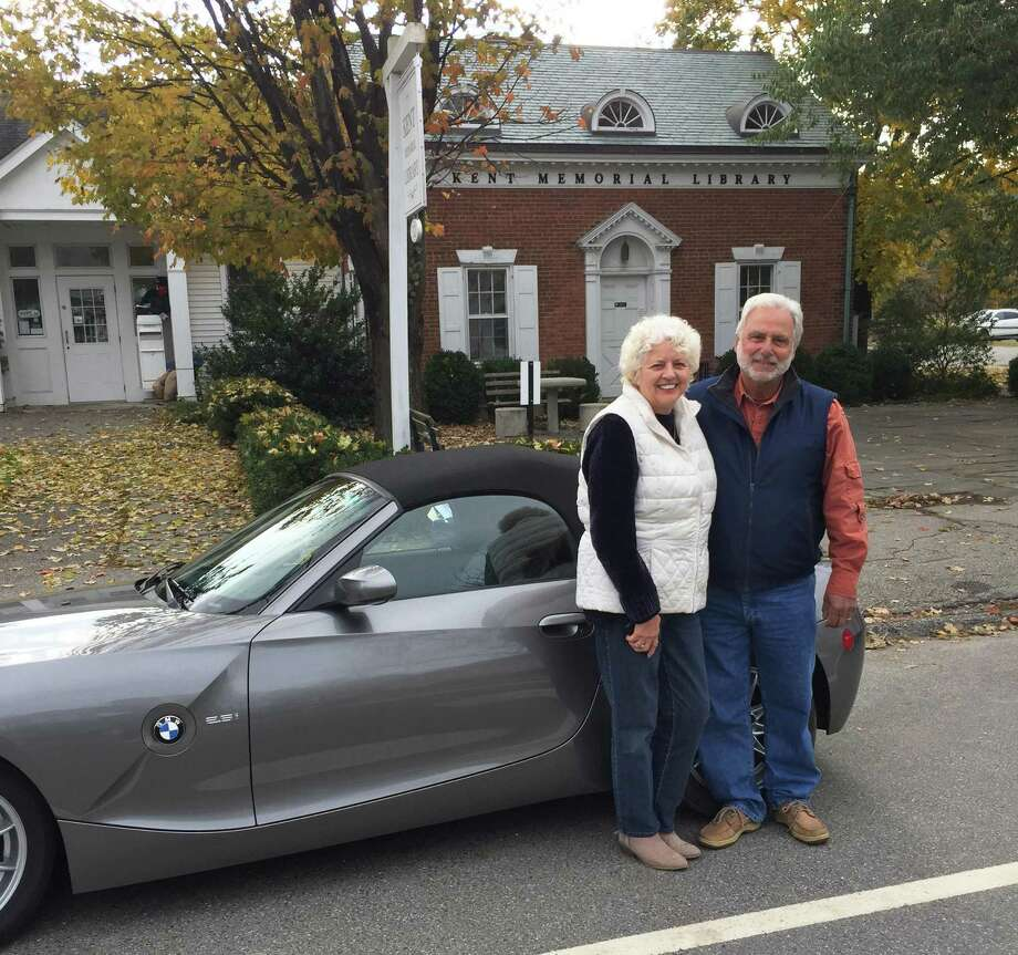 Kent Memorial Library has announced the winner of its annual car raffle. The winners of the 2003 2003 BMW Z4 Roadster are Jim and Ida Ucci of Mahopac Falls, N.Y., above, with ticket #1707. Photo: Courtesy Of Kent Memorial Library / The News-Times Contributed