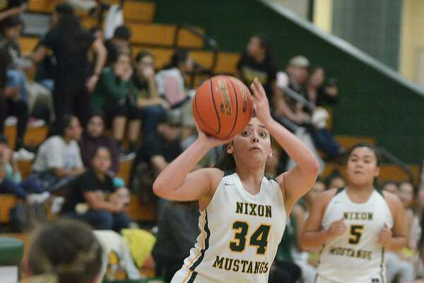 Ashley Pena scored a game-high 35 points Tuesday as she combined with Alyssa Mata for 13 triples in a 71-58 win over Alice.