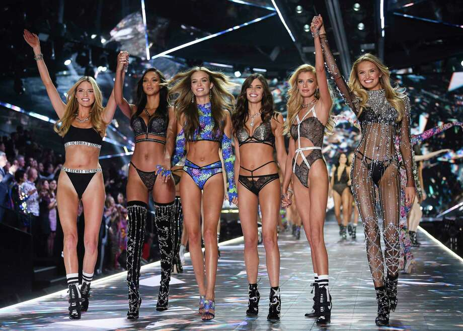 FILE - In this Nov. 8, 2018 file photo, models Martha Hunt, from left, Lais Ribeiro, Josephine Skriver, Sara Sampaio, Stella Maxwell and Romee Strijd walk the runway during the 2018 Victoria's Secret Fashion Show in New York. Shown on ABC Sunday after several years on CBS, its audience of 3.27 million viewers was the smallest since becoming a holiday season TV event in 2001. The Nielsen company said the show has lost more than half its television audience in two years.(Photo by Evan Agostini/Invision/AP, File) Photo: Evan Agostini / 2018 Invision