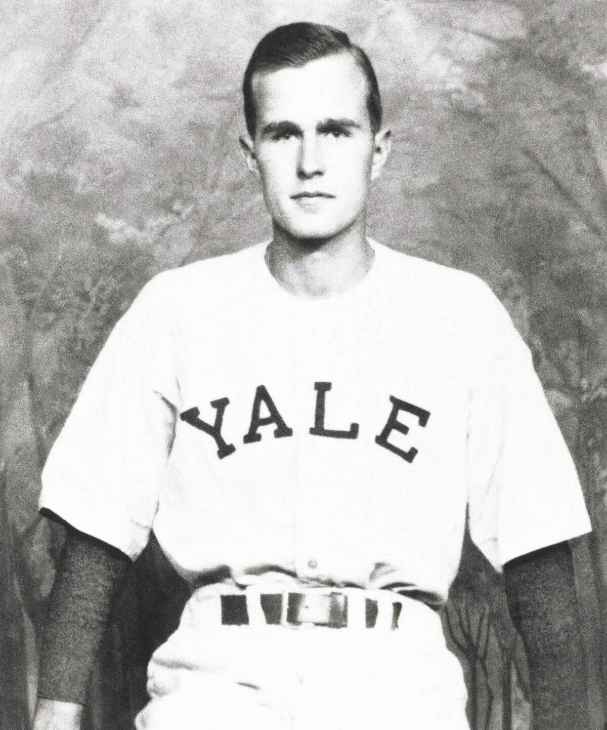George H.W. Bush is shown as captain of the Yale baseball team in New Haven 1948.