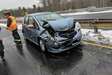 Westport firefighters responded to a car accident near exit 42 on the Merritt Parkway around 11a.m on Feb. 7.
