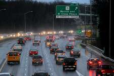 In advance of the Thanksgiving holiday, traffic gets congested along the northbound lanes of I95 at the Merritt Parkway connector in Milford, Conn. on Wednesday November 27, 2013.