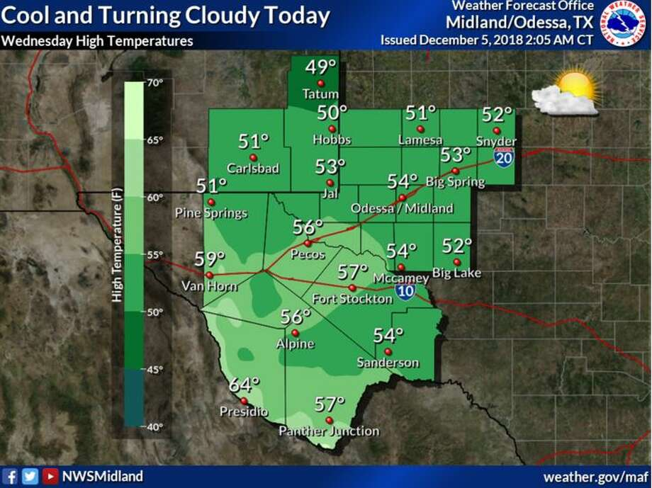 A strong system is expect to move through the Permian Basin bringing wintry weather. Photo: National Weather Service