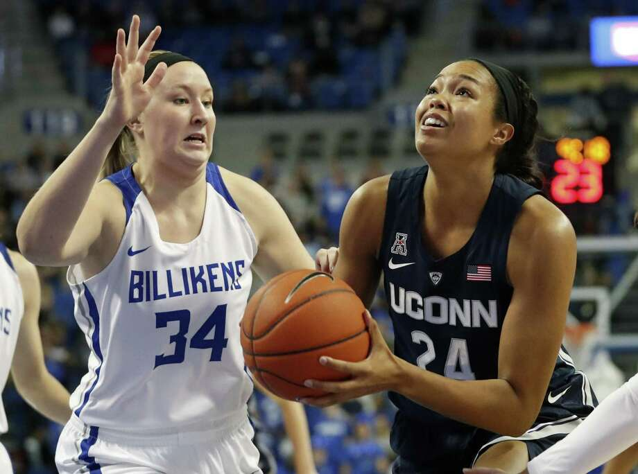 UConn senior Napheesa Collier, playing in her homecoming game, heads to the basket as St. Louis' Kendra Wilken defends Tuesday. (AP Photo/Jeff Roberson) Photo: Jeff Roberson / Associated Press / Copyright 2018 The Associated Press. All rights reserved.