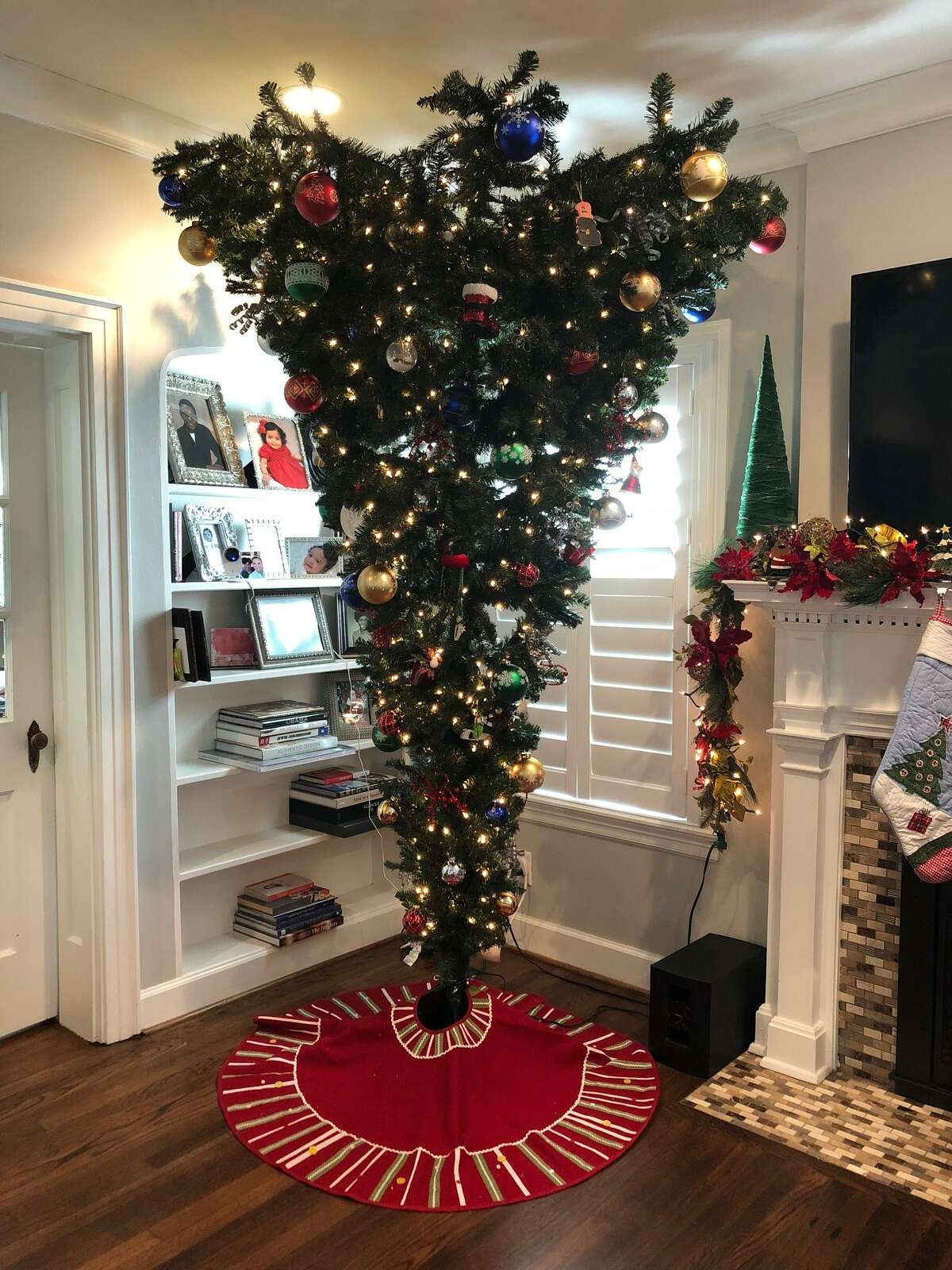 An inverted Christmas tree in the home of a Houston resident. >>Check out these creative ways to decorate your tree, upside down or not ...
