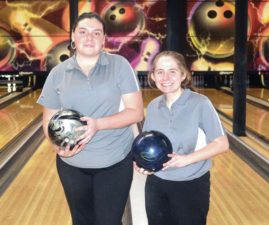 Seniors Sydney Sahuri, left, and Rachel McTague are the leading scorers for the Edwardsville girls' bowling team. Photo: Scott Marion/Intelligencer