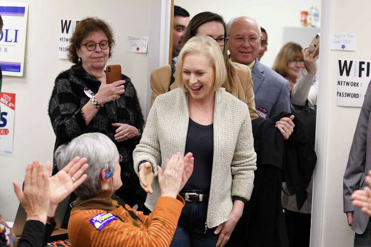U.S. Sen. Kirsten Gillibrand meets with volunteers at the Albany Democratic Committee headquarters on Monday, Nov. 5, 2018, in Albany, N.Y. (Will Waldron/Times Union)