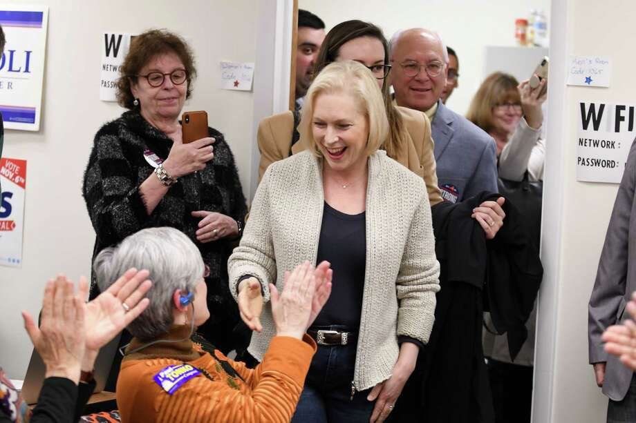 U.S. Sen. Kirsten Gillibrand meets with volunteers at the Albany Democratic Committee headquarters on Monday, Nov. 5, 2018, in Albany, N.Y. (Will Waldron/Times Union) Photo: Will Waldron / 20045389A