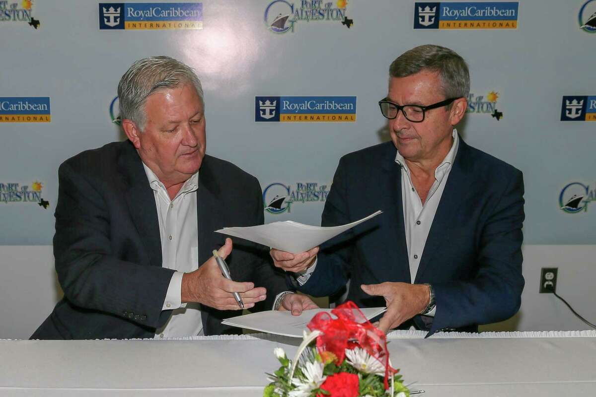 Rodger Rees, director and CEO of the Port of Galveston, and Royal Caribbean International President and CEO Michael Bayley sign an agreement Dec. 5, 2018, to build a new cruise terminal in Galveston. >>Check out the largest cruise ships in the world...