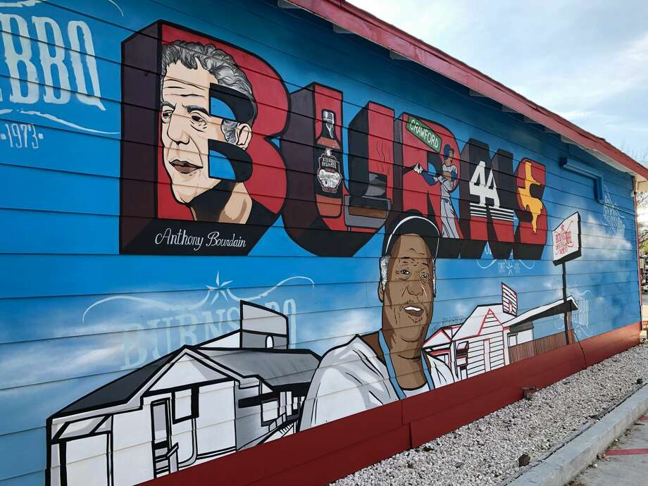 "PHOTOS: Burns BBQ's new mural  The late Anthony Bourdain didn't make Burns Original BBQ in Houston cool. But when Bourdain came there in 2016 to film a segment of his Houston edition of his CNN show ""Parts Unknown"" he opened it up to the rest of the world. This week noted Houston street artist and muralist Donkeeboy (given name Alex Roman Jr.) unveiled a new mural at Burns honoring the history of the barbecue joint one of its most famous visitors. >>>See more photos of the new mural in the neighborhood... Photo: The Scurfield Group"
