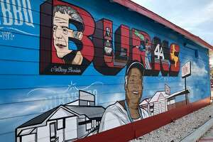"""The late Anthony Bourdain didn't make Burns Original BBQ in Houston cool. But when Bourdain came there in 2016 to film a segment of his Houston edition of his CNN show """"Parts Unknown"""" he opened it up to the rest of the world. This week noted Houston street artist and muralist Donkeeboy (given name Alex Roman Jr.) unveiled a new mural at Burns honoring the history of the barbecue joint one of its most famous visitors."""
