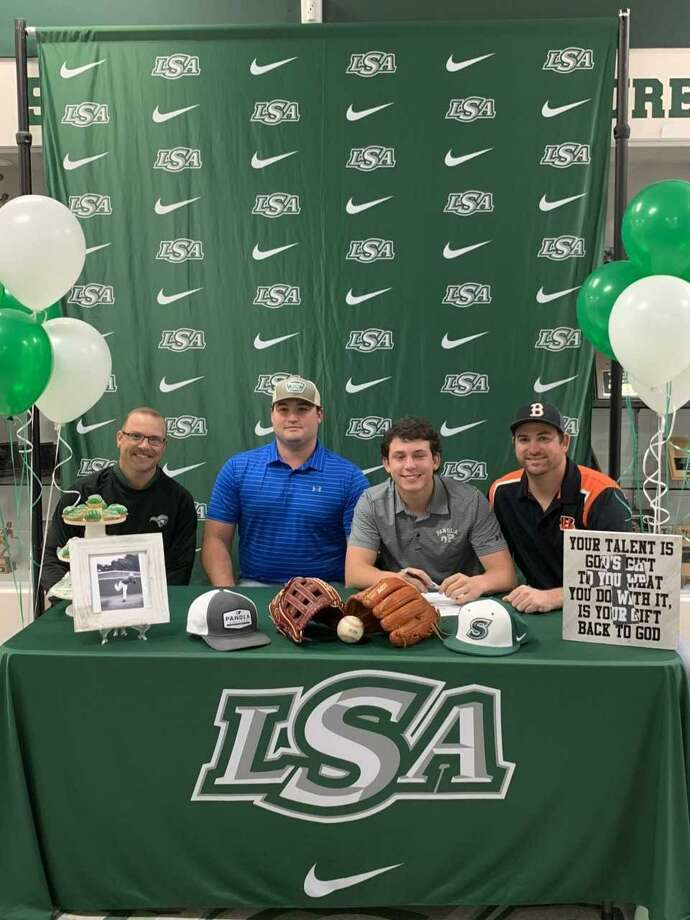 Trhea Morse of Lutheran South Academy has signed a national baseball letter of intent with Panola College. Morse is the son of David and Becky Morse. He is shown with LSA coaches Aaron Schneider, Trey Beck and Zack Williams. Photo: Submitted Photo