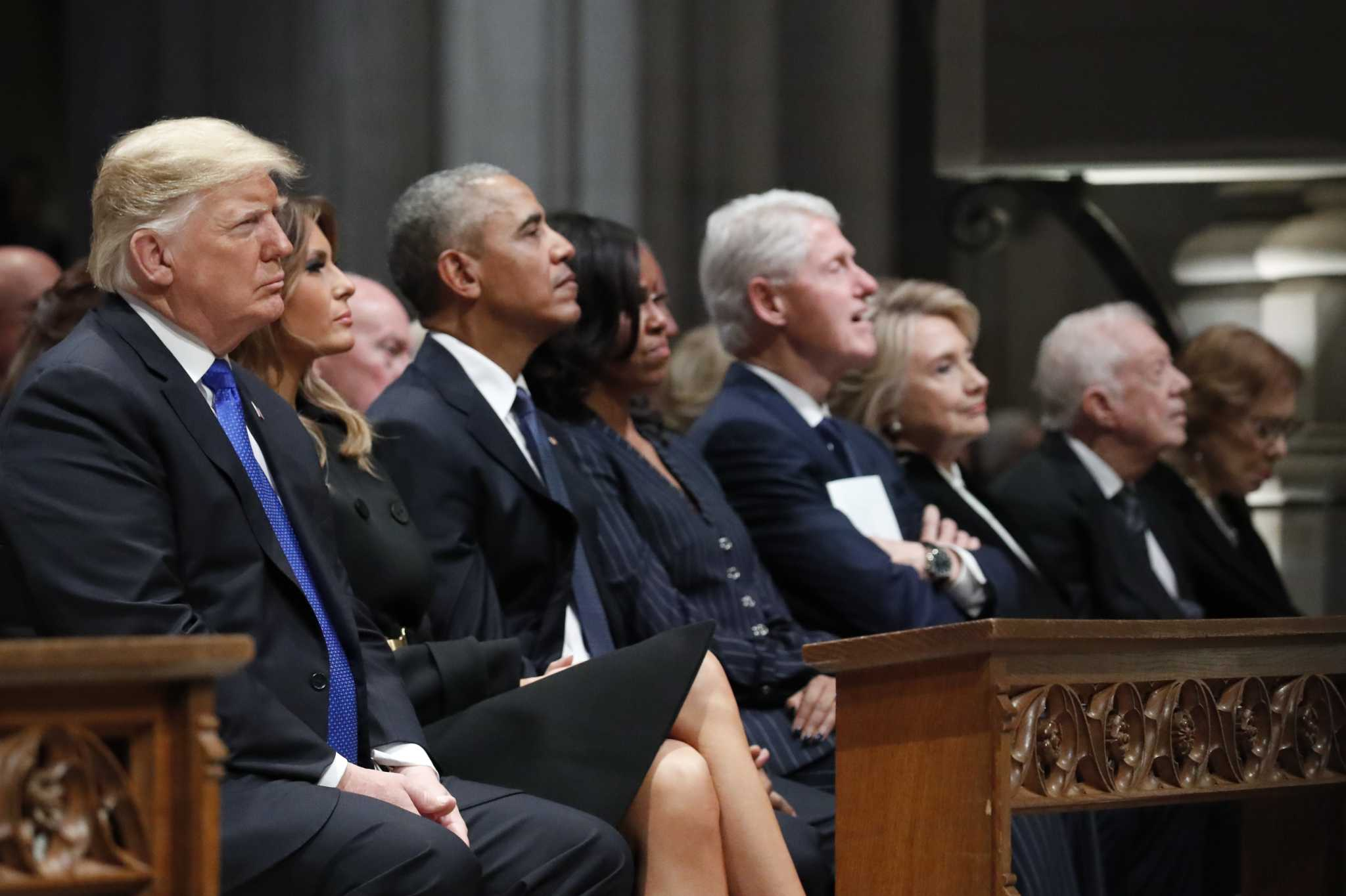trump odd man out as presidents assemble for bush funeral   jacksonville journal courier