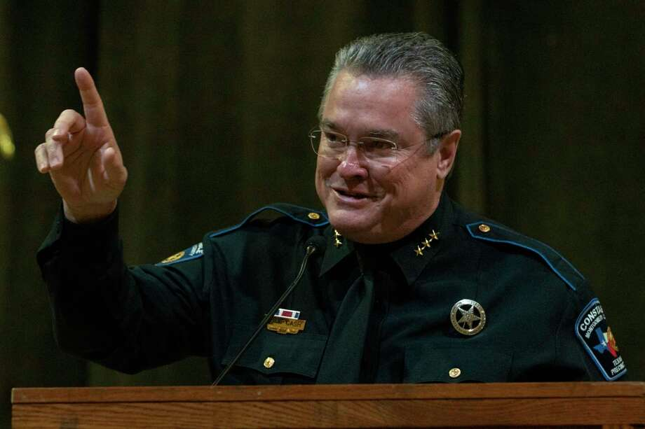 Montgomery County Constable pct. 1 Philip Cash tells the crowd that the people working for him are what make a good boss as he accepts the boss of the year award during the Montgomery County employees Annual Christmas Luncheon on Tuesday, Dec. 4, 2018 at The Lone Star Convention Center in Conroe. Photo: Cody Bahn, Houston Chronicle / Staff Photographer / © 2018 Houston Chronicle
