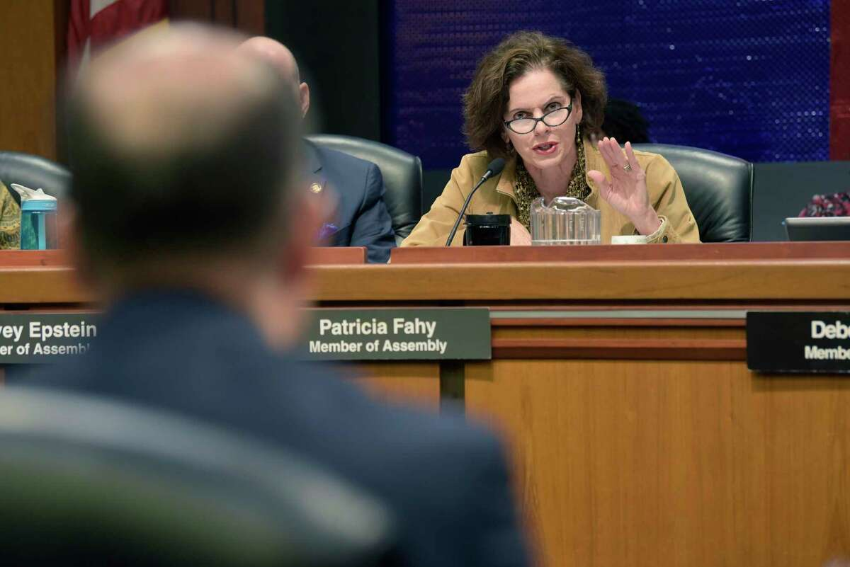 Assemblymember Patricia Fahy asks a question of officials from CUNY schools during an Assembly Standing Committee on Higher Education hearing on SUNY and CUNY maintenance of effort provisions on Wednesday, Dec. 5, 2018, in Albany, N.Y. (Paul Buckowski/Times Union)