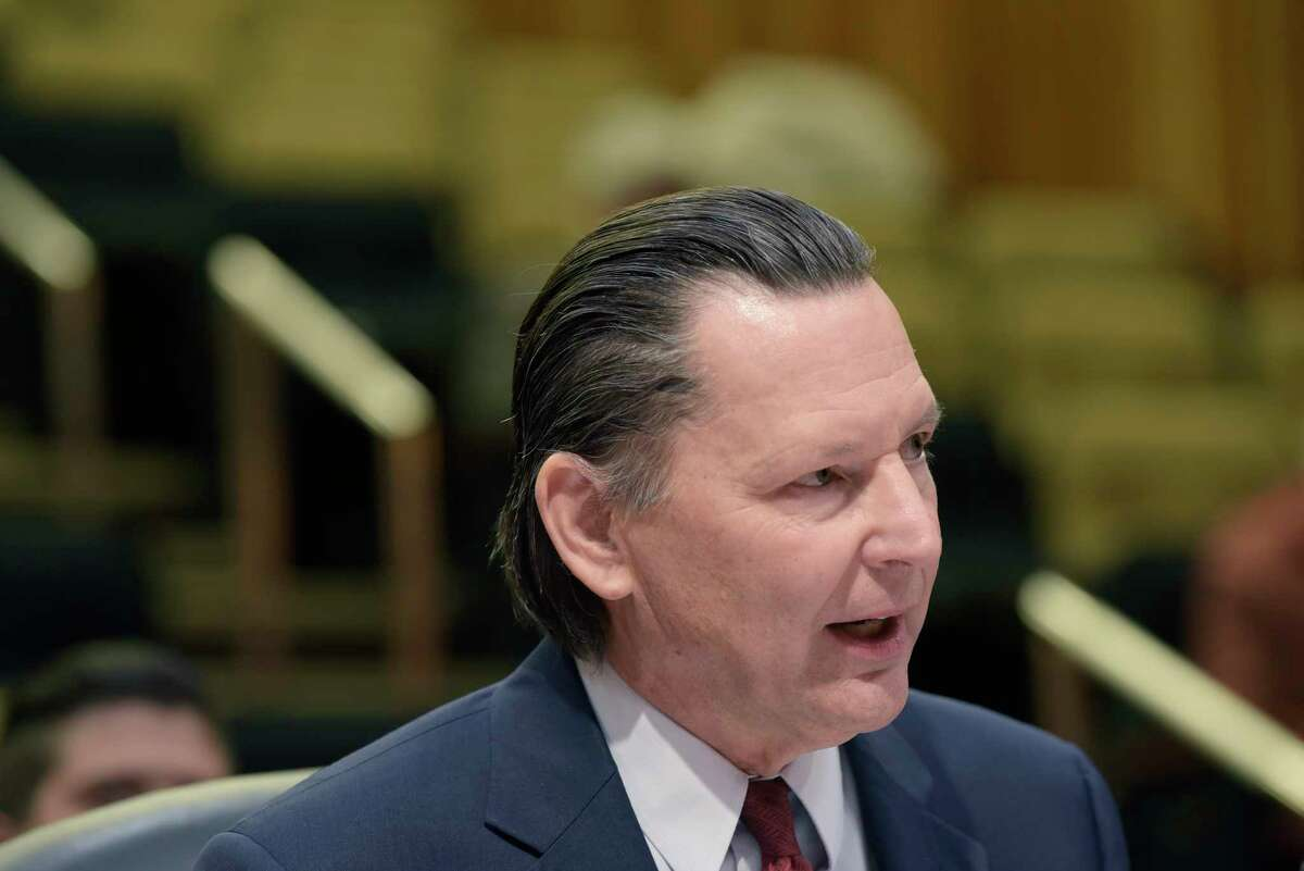 Frederick Kowal, president of United University Professions testifies at the Assembly Standing Committee on Higher Education hearing on SUNY and CUNY maintenance of effort provisions on Wednesday, Dec. 5, 2018, in Albany, N.Y. (Paul Buckowski/Times Union)