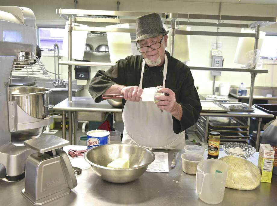 Chef Blythe Roberts, an instructor with the Community Culinary School of Northwestern CT, prepares cookie dough for assorted cookies the school will be selling for the holiday. Wednesday, December 5, 2018, New Milford, Conn. Photo: H John Voorhees III / Hearst Connecticut Media / The News-Times